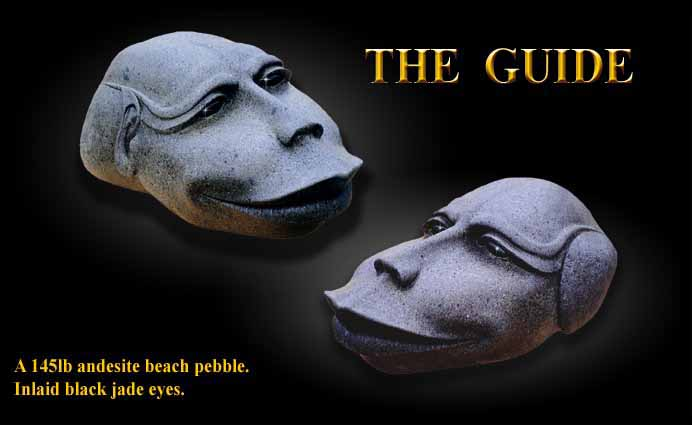 Stone Sculpture, 'The Guide' Black Jade Inlaid Eyes.